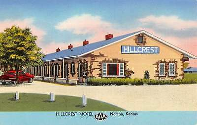 Norton Kansas Hillcrest Motel Street View Antique Postcard K56952