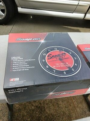 """NEW Snap On Tools Lighted Clock Vintage Pam Design 15"""" Diameter + Thermometer"""
