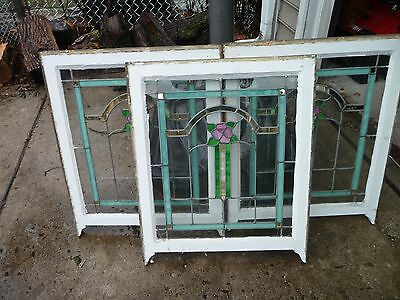 3 Set Chicago Bungalow Style Stained Leaded Glass Windows 26 by 32 floral FLOWER