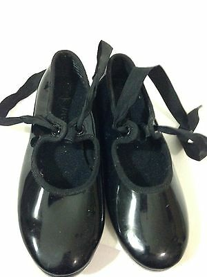 DANSKIN NOW - GIRLS Sz 11 TAP DANCE BLACK PATENT SHOES