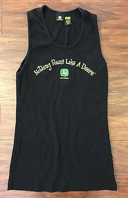 "John Deere Women's Tank Top Size L(11/13) ""Nothing Runs Like A Deere"" Black"
