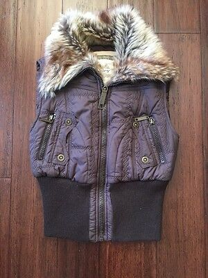 Esley Collection Brown Faux Fur Puffer Vest Size S