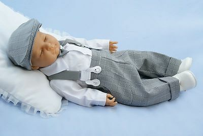 Baby Boy Grey Formal Pageboy Outfit Gentleman Braces White Shirt Hat 0-18M