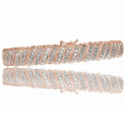 1ct TDW Diamond 18K Rose Gold Over S Tennis Bracelet