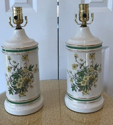 Attractive Pair of Floral Ceramic Table Lamps