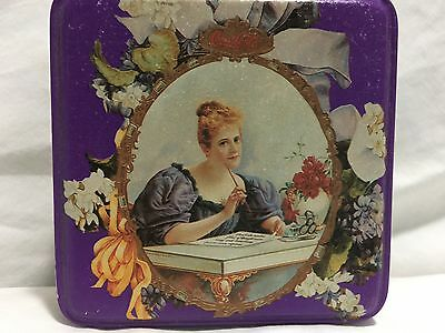1994 Coca Cola Tin with Lid 1900's Lady crackled finish