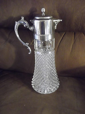 Vintage Diamond Cut Glass and Silver Wine Decanter/ Coffee Carafe