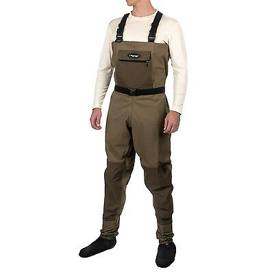Frogg Toggs Hellbender Breathable Fly Fishing Chest Waders Belt Stocking Foot L