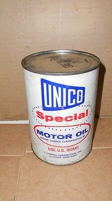 Vintage Unico Special  Motor Oil  Quart Oil Can  Nice Graphics