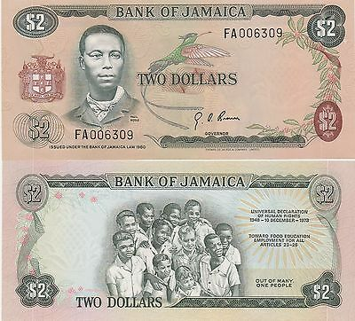 Jamaica 2 Dollars Banknote,(1976) Uncirculated Condition Cat#60-A-6309