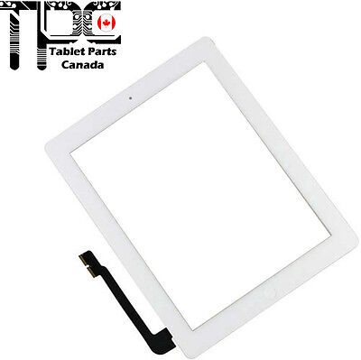 Apple iPad 3 & 4 Digitizer Touch Screen Home Button Adhesive Complete White