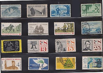 (U20-24) 1950-90 USA mix of 64stamps value to 40c (X)