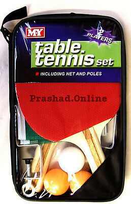 MY 2 Player Table Tennis Set, 2 Bats, 3 Balls, Net and Poles and Zip UK STOCK***