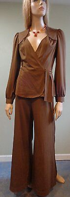 Vintage 70s Palazzo Pants Suit Dress PRISTINE;  Sm/Med  'Furstenburg Style'