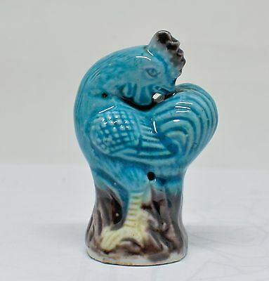 Antique Chinese Turquoise Blue Small Rooster Figurine