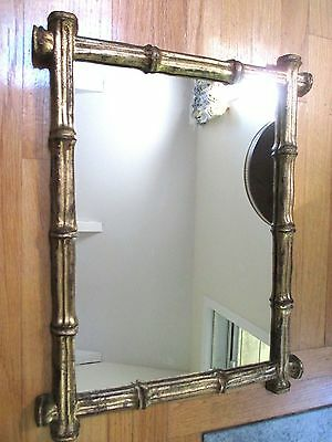 Vintage Faux Bamboo Gold Gilt Italian Mirror Hand Crafted Carved Regency