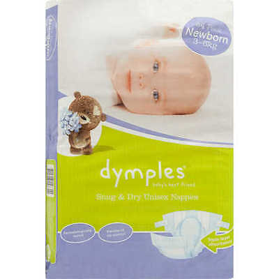 NEW Dymples Snug & Dry Unisex Nappies Newborn 54 Pack