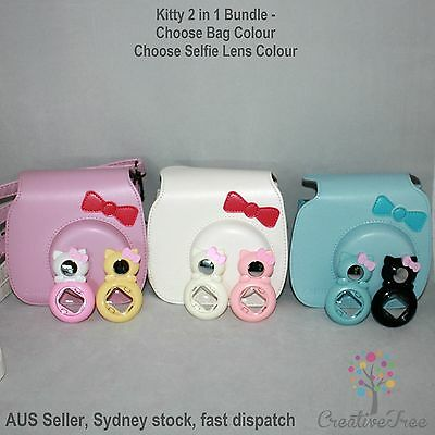 AUS. Kitty Bow Camera Case Bag for INSTAX MINI 8 - 3 colours avail + Selfie Lens