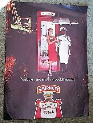 """1970's SMIRNOFF VODKA POSTER ADVERTISEMENT """"anything could"""" 16.25"""" x 22.25"""" #8"""