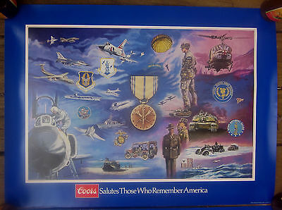 1984 Coors Beer military poster National Guard/Army-Air Reserve George Skypeck