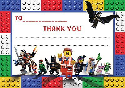 Lego Movie Thank You Cards Notes For My Present Gift Paper Letters Childrens