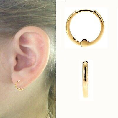 32f47875f53ba 14K YELLOW GOLD Small Baby Huggies Huggy Hoops Hoop Earrings 1.5mm x 9mm