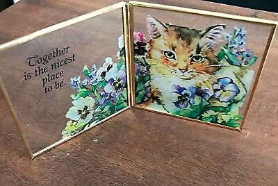 """CAT IN GARDEN ETCHED GLASS FRAME """"Together Is The Nicest Place To Be"""""""