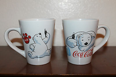 Cute Collectible 2001 Gibson Set of 2 Polar Bear Coca-Cola Coffee Cup Mugs!