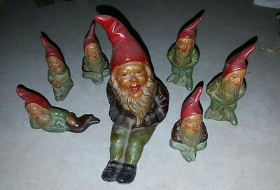 Lot Of 7  German Terracotta Gnomes Gnome Germany