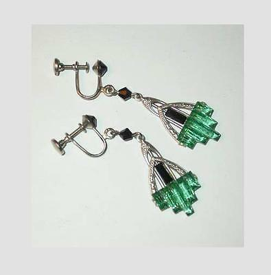 GORGEOUS ANTIQUE 1920's ART DECO STEPPED & BEVELED  GREEN GLASS DROP EARRINGS!
