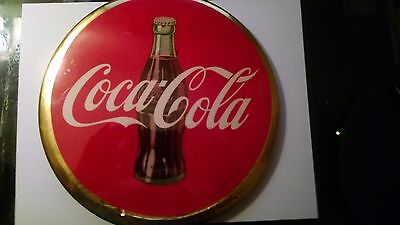 """ORIG. VINTAGE 1950's COCA-COLA 9"""" CELLULOID ADVERTISING BUTTON SIGN Old Soda"""