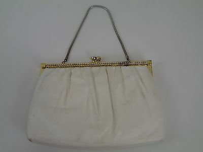 Vintage 1950s White Genuine Leather Clutch Purse by Etra