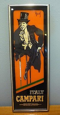 "Vintage Campari Italy Bar Glass Advertising Sign Mirror - Size: 25"" x 9"" - NICE!"