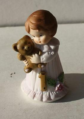 Enesco Growing up Birthday Girl #1 Age Figurine with Brown Hair 1982 Cake Topper