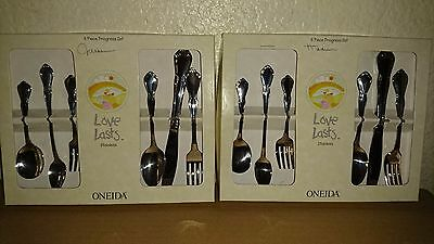 2 set  6 Piece Set ONEIDA Chateau BABY CHILD Stainless LOVE LASTS flatware