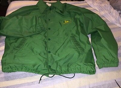 Vintage John Deere Green Lined Nylon Wind Breaker Farmer Jacket Meduium 60s