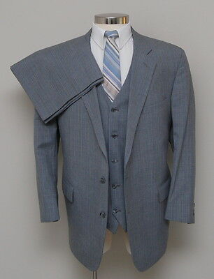 Vintage Mens 48R Jacobson's 3 Piece Grey with Blue/White/Brown Stripe Wool Suit