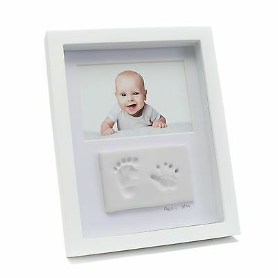 Babyink Baby Ink Double Frame White Clay Impression Kit Hand/Footprints Keepsake