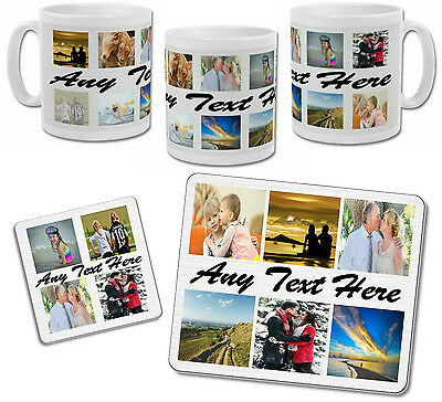 Personalised Collage Photo Mug with Coaster & Placemat Options