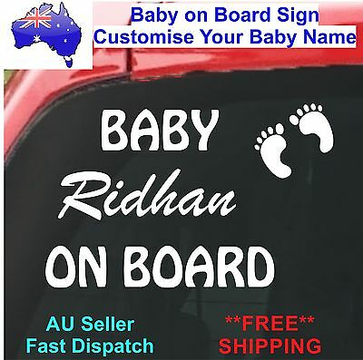 Baby on Board Decal Personalised baby name prince princess car sign