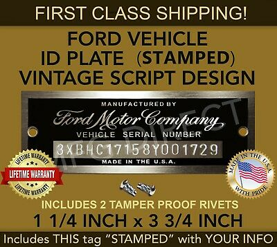 Ford VIN Small stamped with your numbers INCLUDES THIS PLATE MARKED FREE SHIP