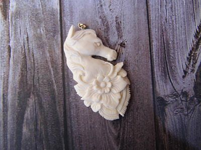 Pendant Necklace HORSE Head Flower From Buffalo Bone Carving w/ Silver 925_x100