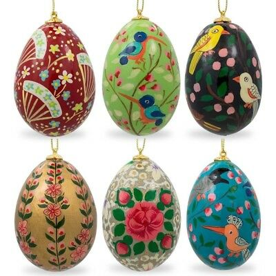 6 Flowers and Birds Wooden Pysanky Ukrainian Easter Egg Christmas Ornaments