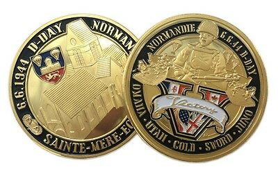 D-Day Normandie War   Victory   Sainte Mere Eglise   Gold Plated Coin