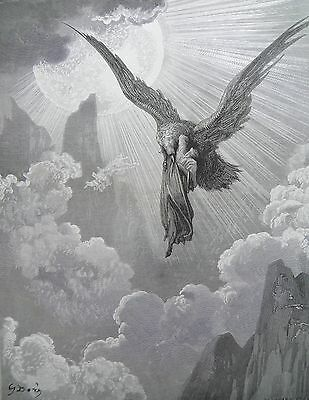 Dante's Purgatory by Gustave Dore Antique Print circa 1880 (192) The eagle