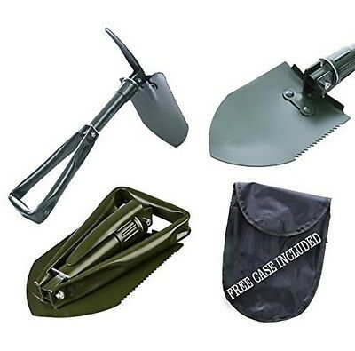 Tri Fold Pick Shovel Steel Folding Entrenching Bag Camping  Recovery OffRoad 4X4