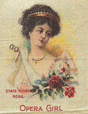Vintage antique promotional silk - use in crazy quilt -NY OPERA GIRL