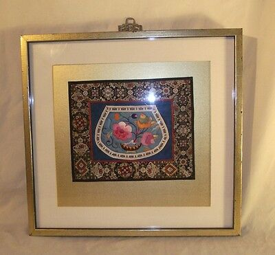Antique Chinese  Embroidered Panel Ch'ing Dynasty Embroidery Beautiful Colors