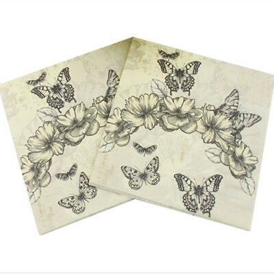 20pcs 33*33cm Cartoon Butterfly Paper Napkins For Birthday Party Decorations
