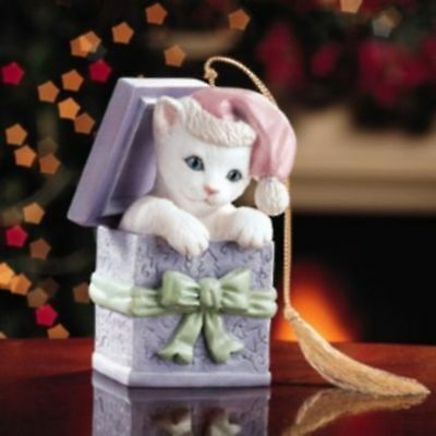 Lenox Kitten in a Box Xmas Tree Ornament-Hand Painted Porcelain Cat Figurine!